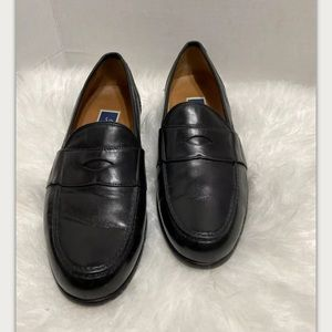 Bragano Black Leather Penny Loafers Italy Mens